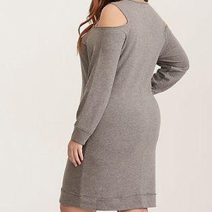 2f38231af8a torrid Dresses - Grey French Terry Cold Shoulder Sweatshirt Dress